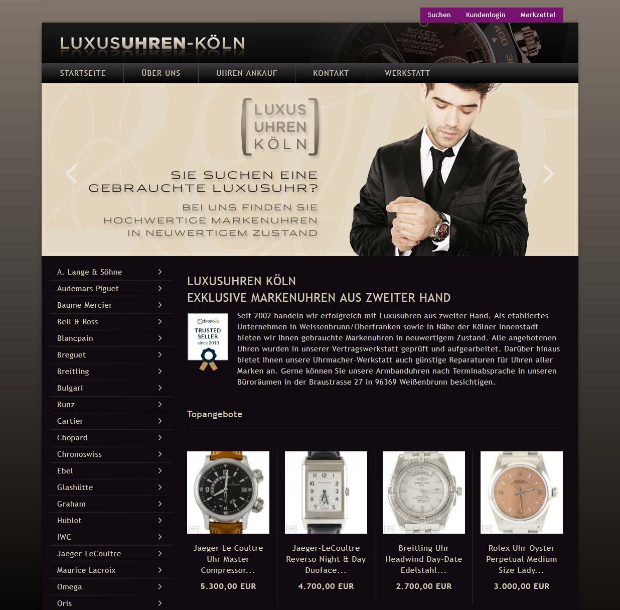 LUXUSUHREN Köln - neuer Webshop mit Gambio GX3
