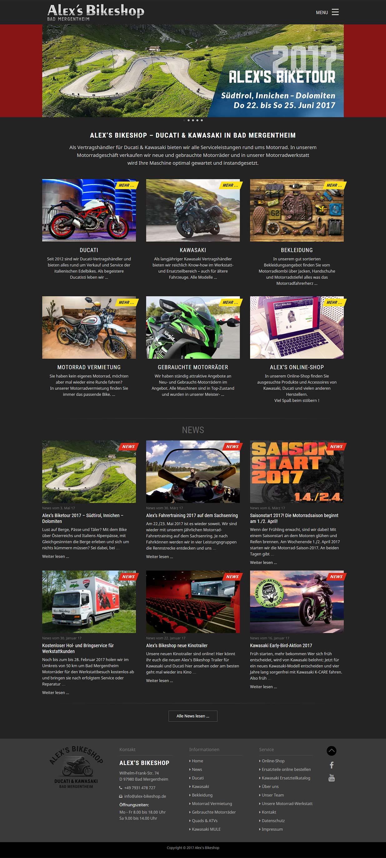 Alex Bikeshop, bad Mergentheim -Saisonstart mit neuer Website